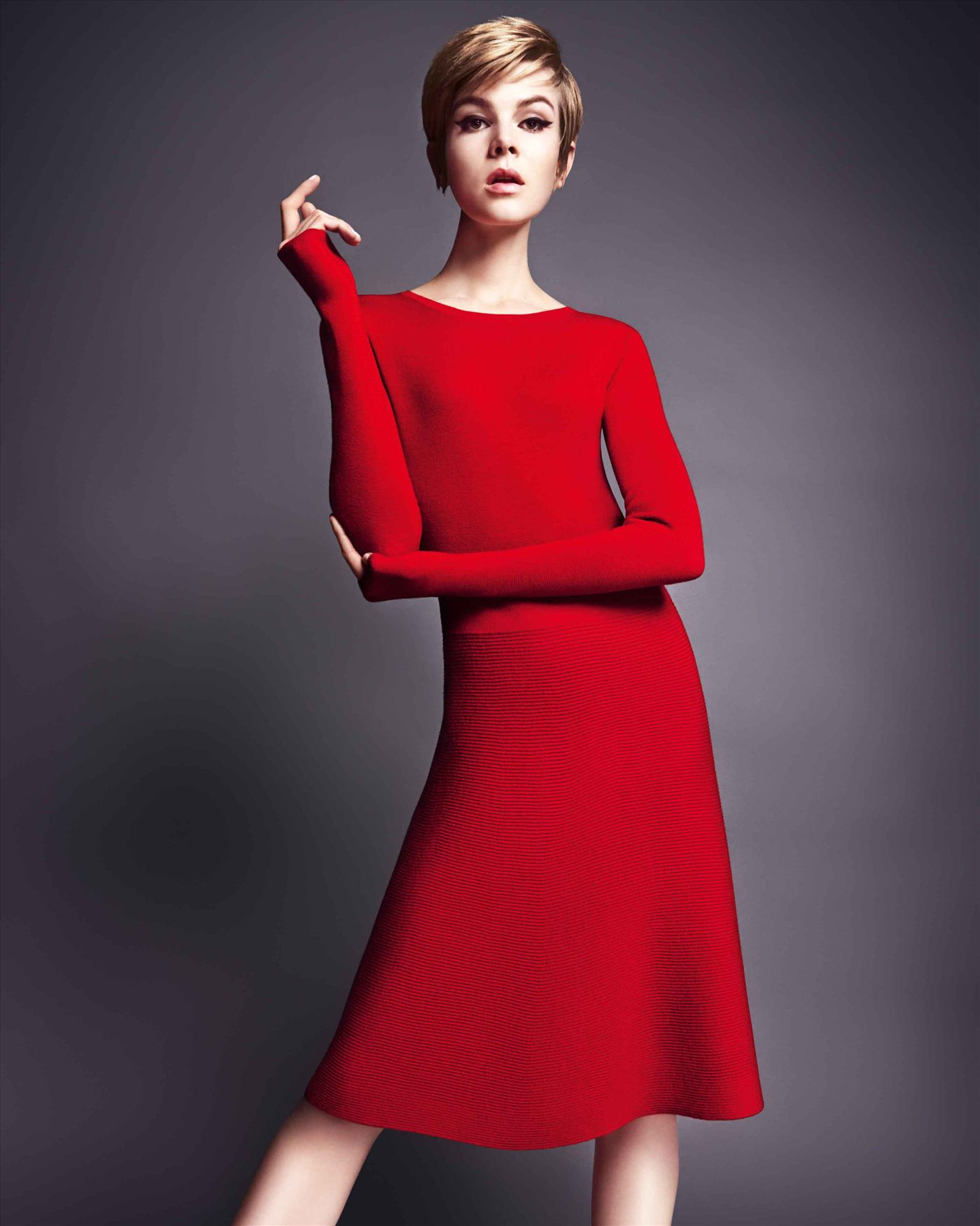 Jaeger Flared Hem Knitted Dress in Red  Lyst