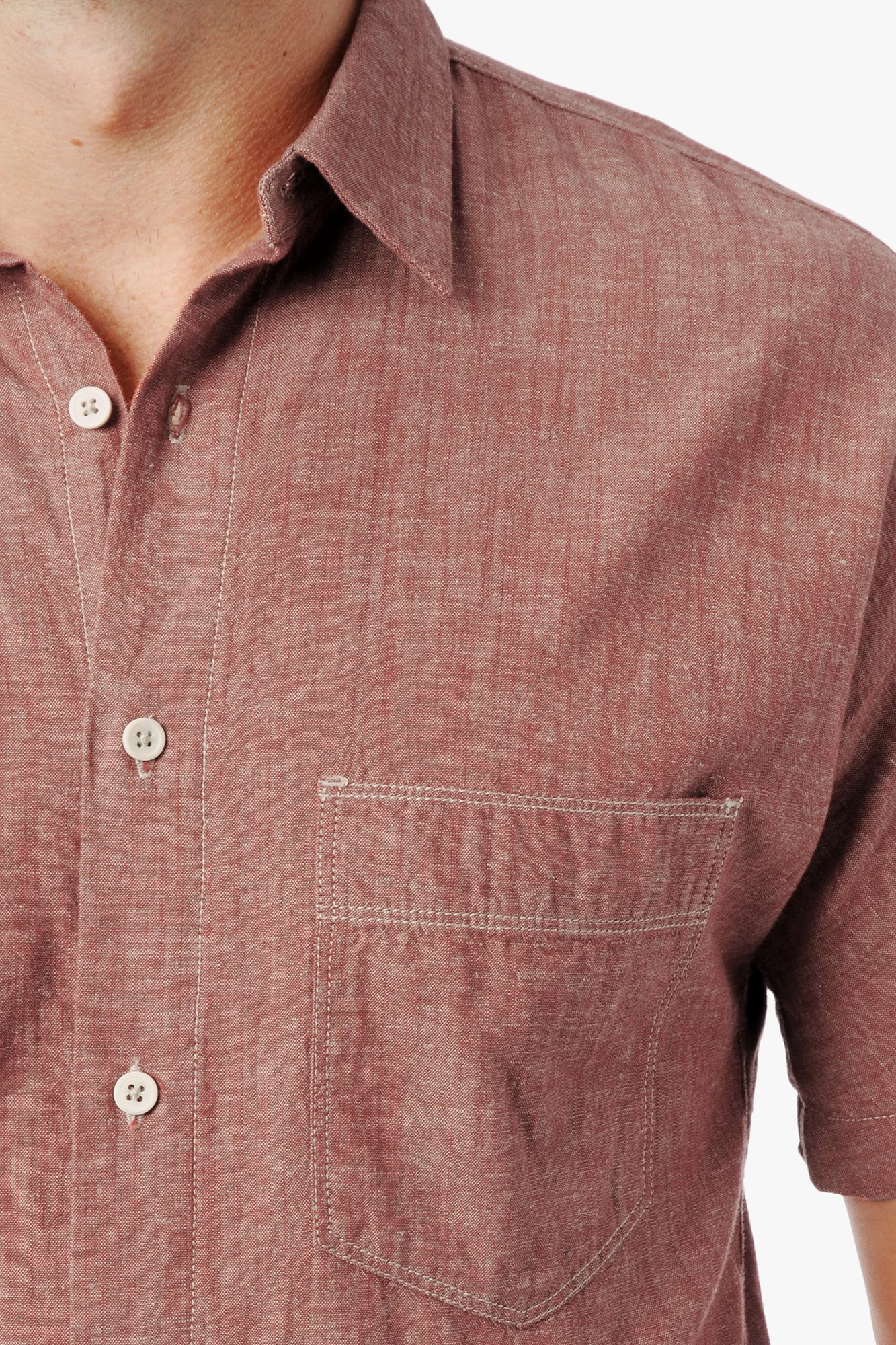 7 for all mankind short sleeve chambray shirt in red for for Chambray 7 s
