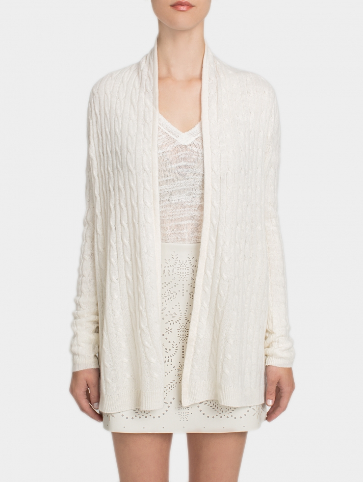 White + warren Cashmere Cable Cardigan in White | Lyst
