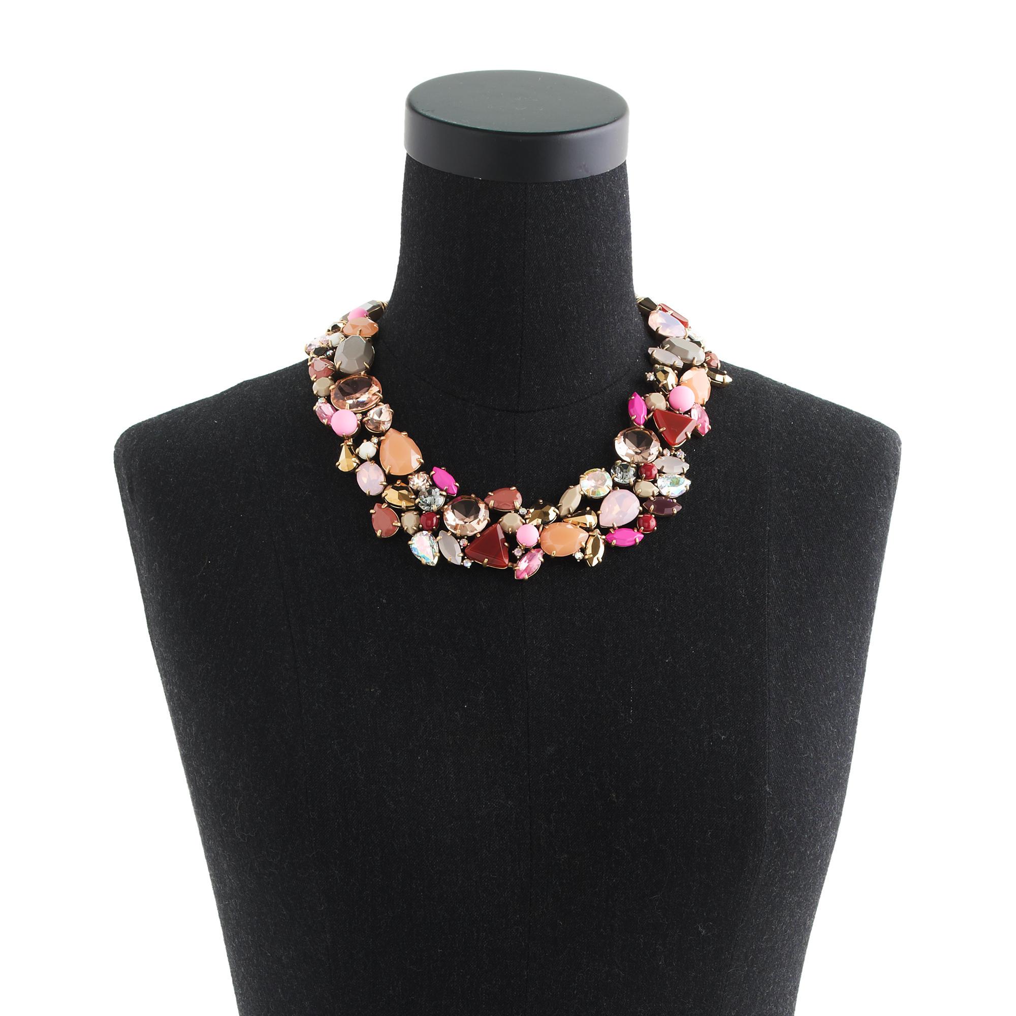 jcrew crystal foliage necklace lyst
