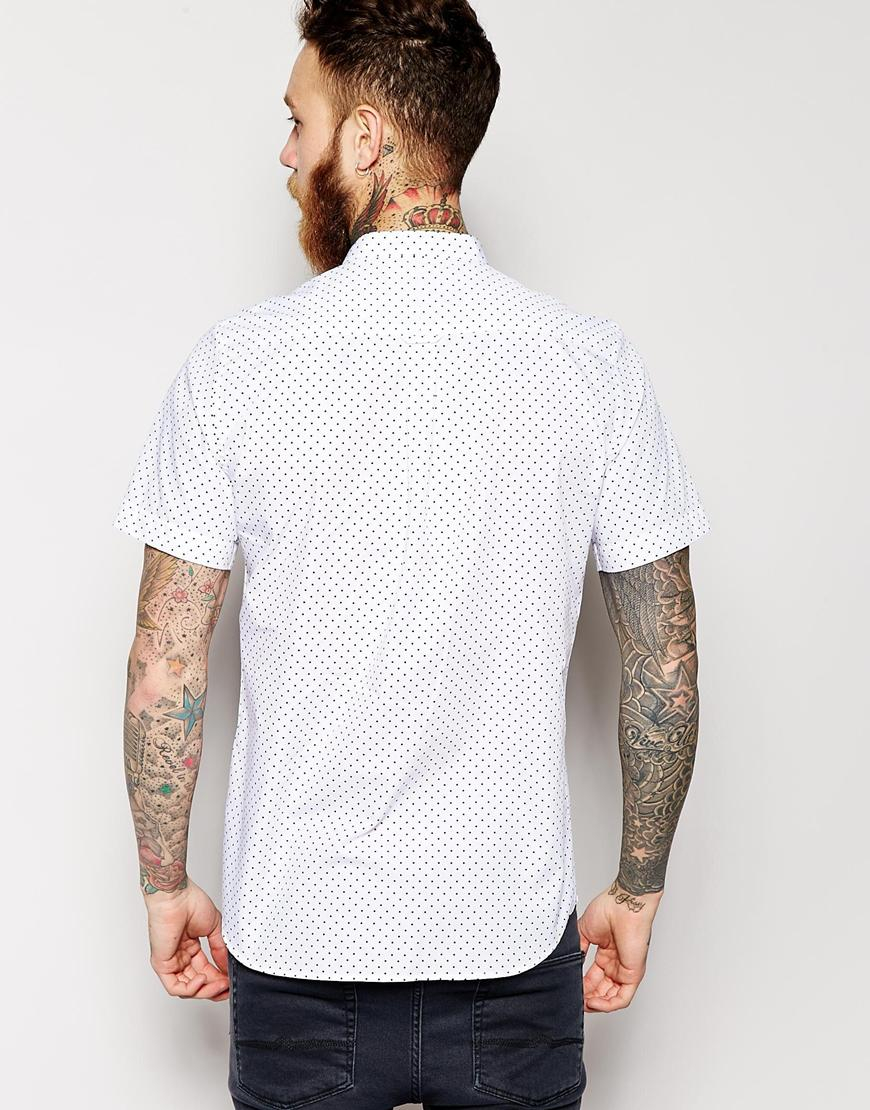 Lyst asos shirt in short sleeve with polka dot print and for Short sleeve grandad shirt