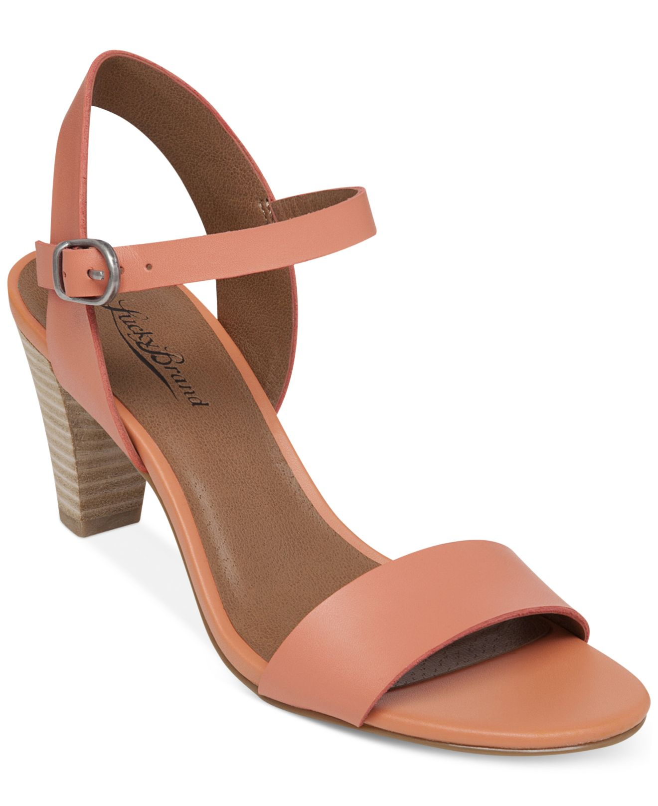 677103ade3c Lyst - Lucky Brand Women S Pepperr Two Piece Mid Heel Sandals in Pink
