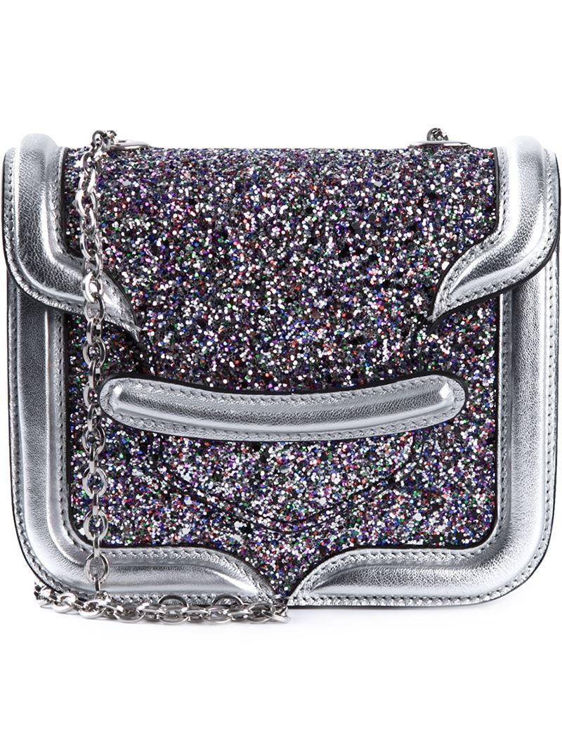 Alexander McQueen Heroine Mini Glitter Cross-Body Bag in Metallic