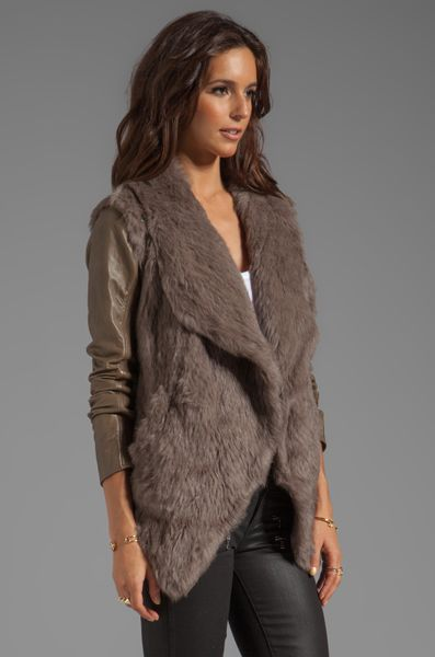June Knit Fur Jacket With Leather Sleeves In Taupe In