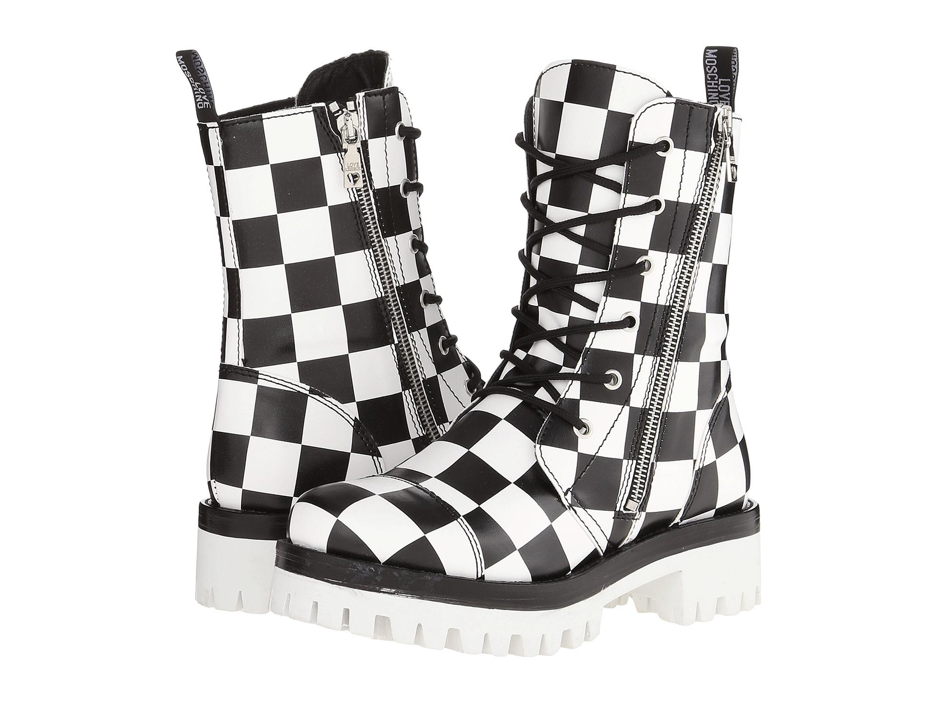 Love moschino Checker Print Combat Boot in White | Lyst