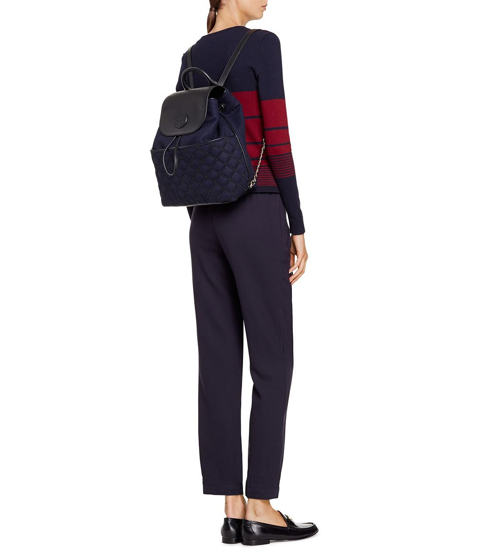 e0d7890cbd Lyst Tory Burch Marion Quilted Flannel Backpack In Blue