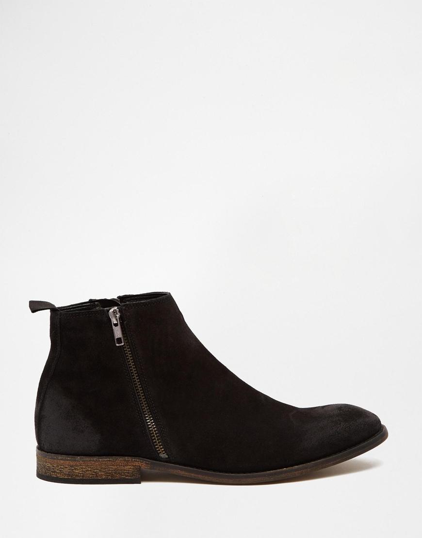 Lyst Asos Chelsea Boots In Black Suede With Double Zip