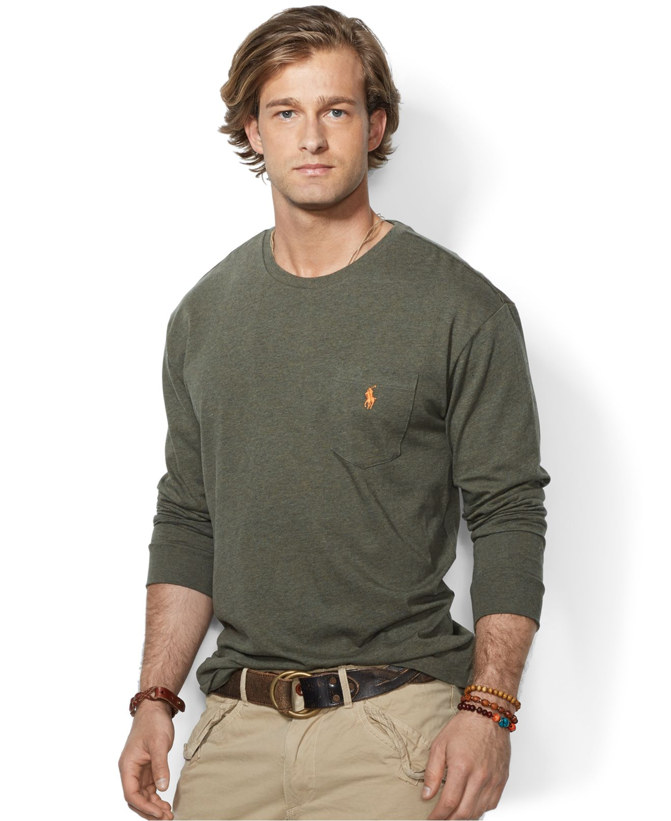 Polo Ralph Lauren. Green Classic-Fit Long-Sleeved Jersey Pocket Crew-Neck
