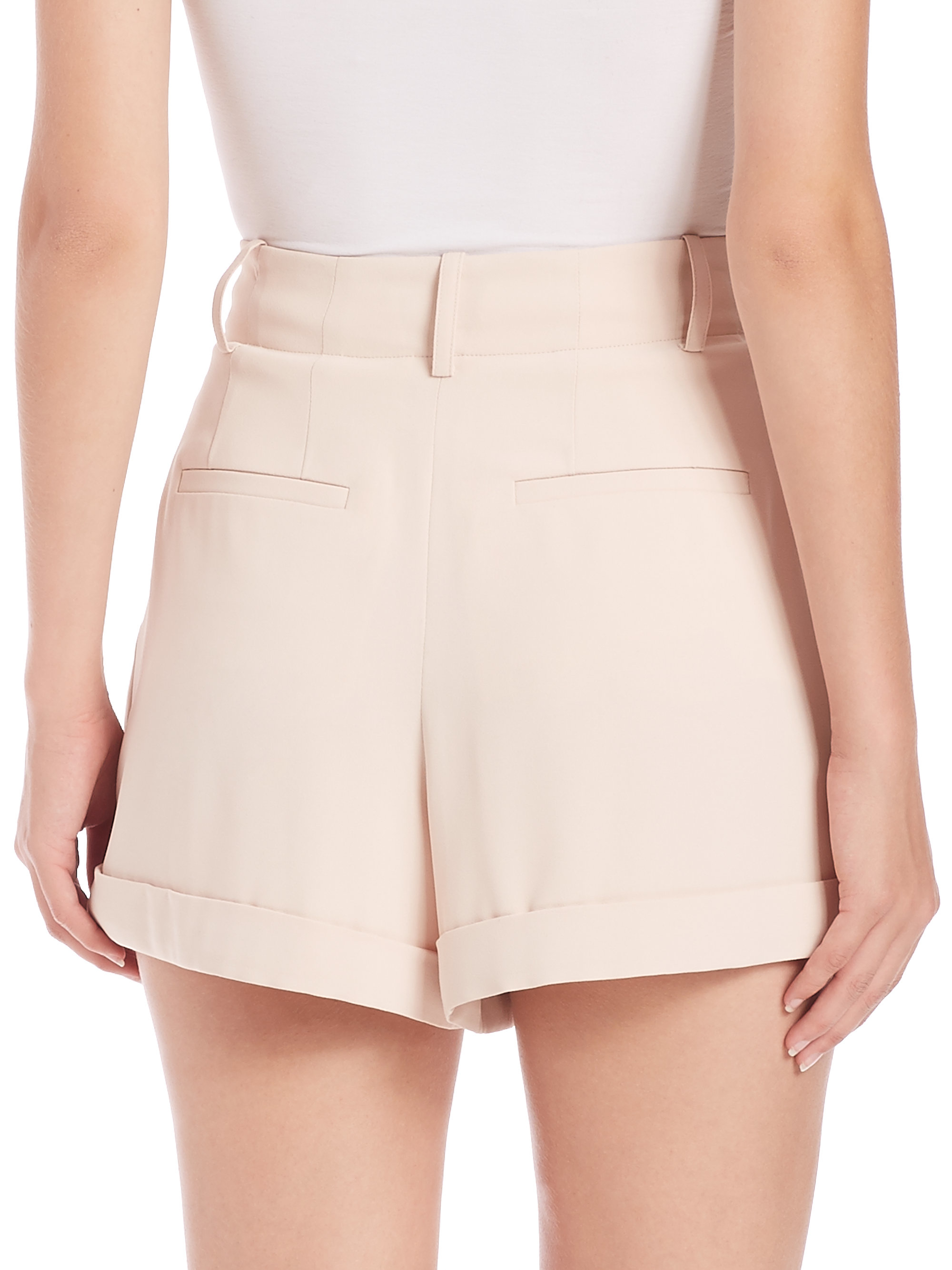 Alice   olivia Amani High-waist Pleated Shorts in Pink | Lyst