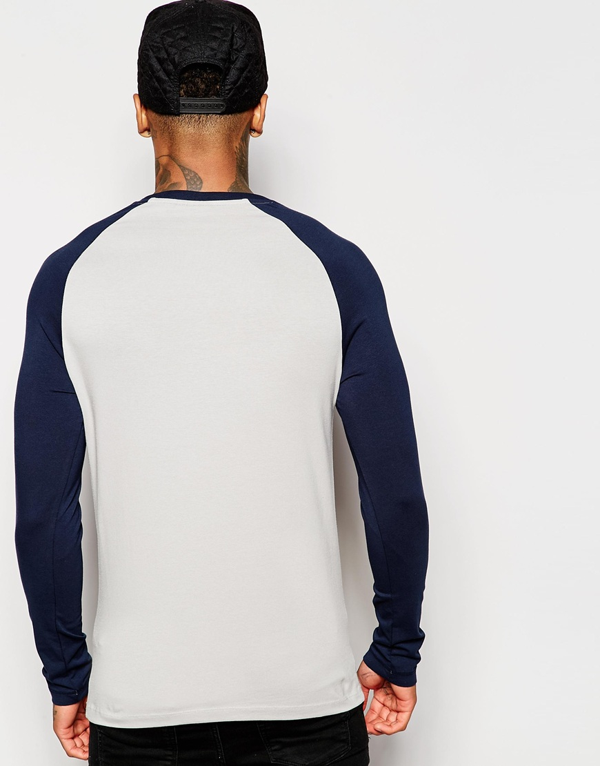 6b2e48f75dc ASOS Blue Extreme Muscle Fit Long Sleeve T-shirt With Contrast Raglan  Sleeves for men