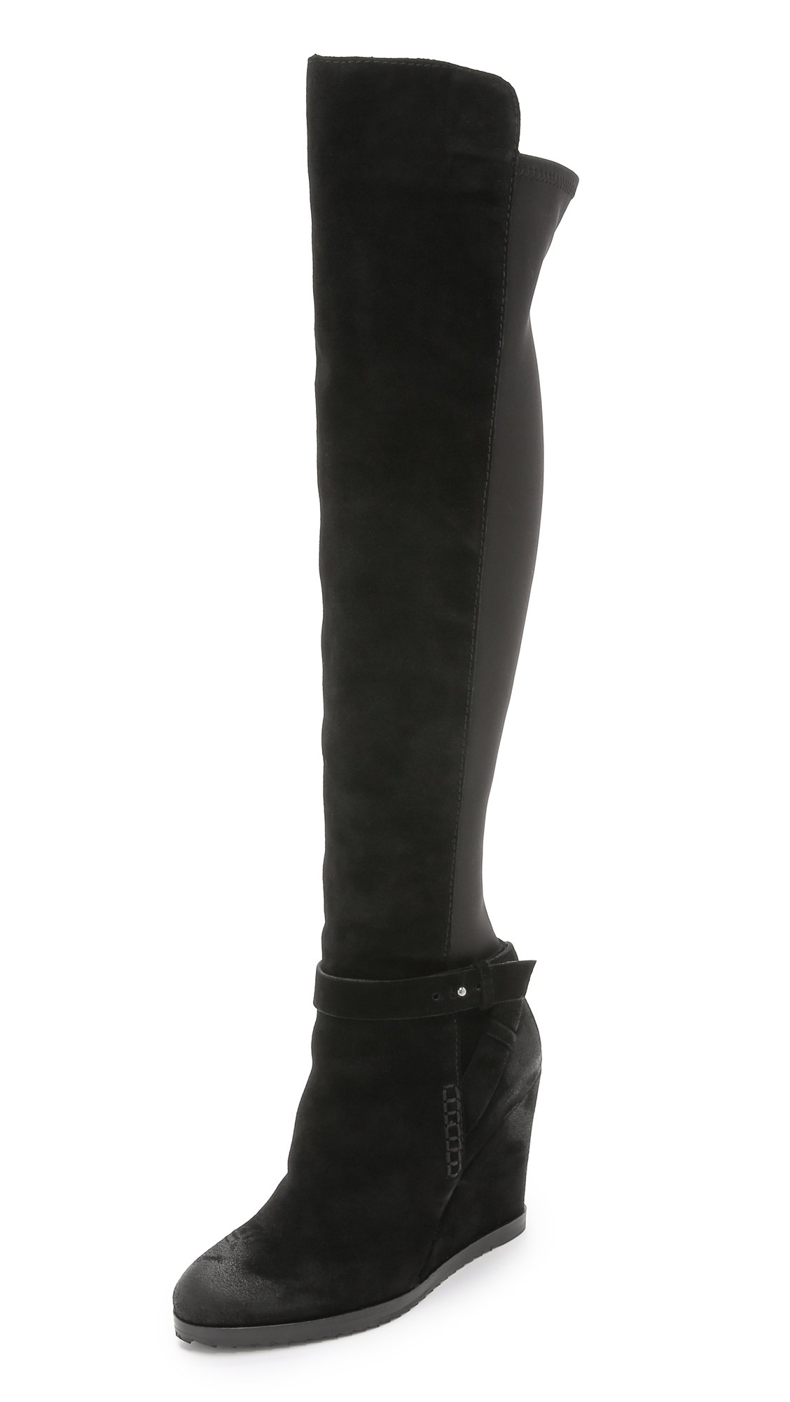 dolce vita ashbey suede wedge boots black in black lyst