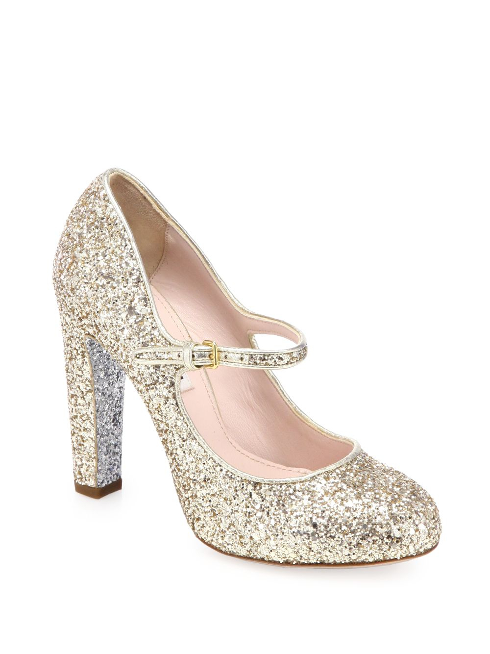 Miu miu Glitter Mary Jane Pumps in Metallic   Lyst