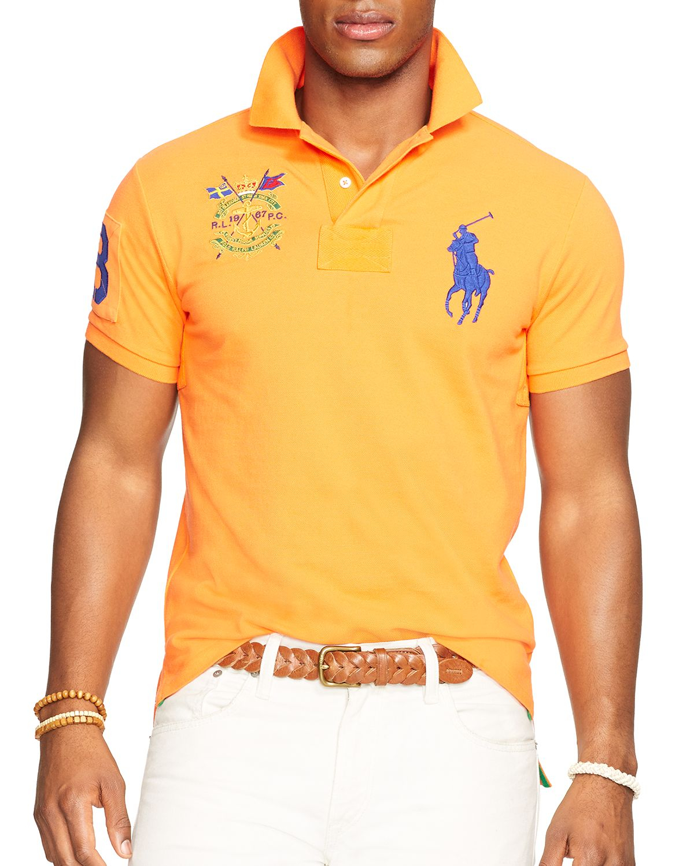 Ralph Lauren | Orange Polo Custom Big Pony Mesh Polo Shirt - Classic Fit for Men. View Fullscreen