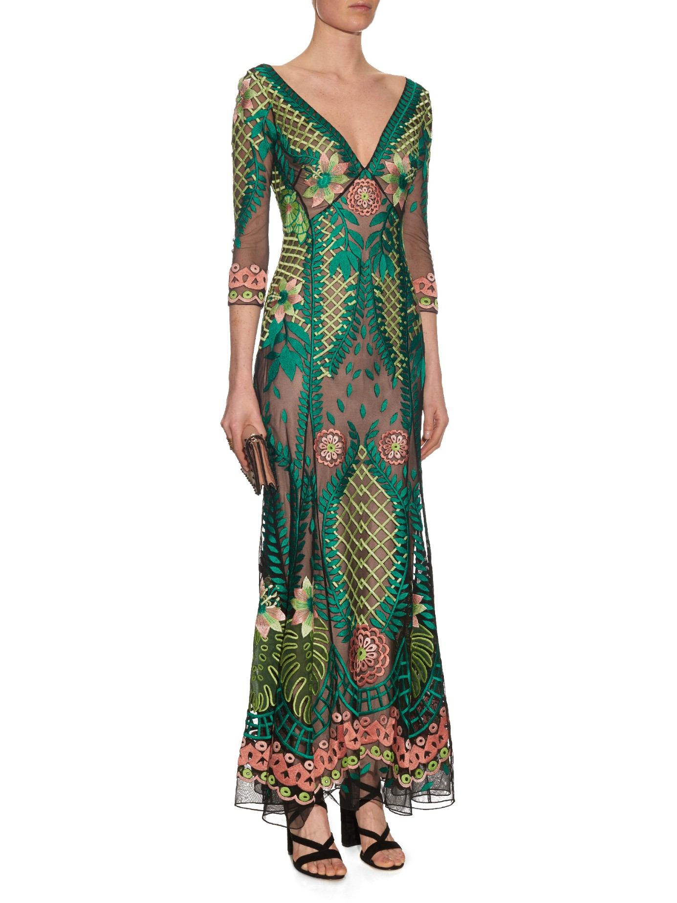 Lyst temperley london belle embroidered maxi dress in green