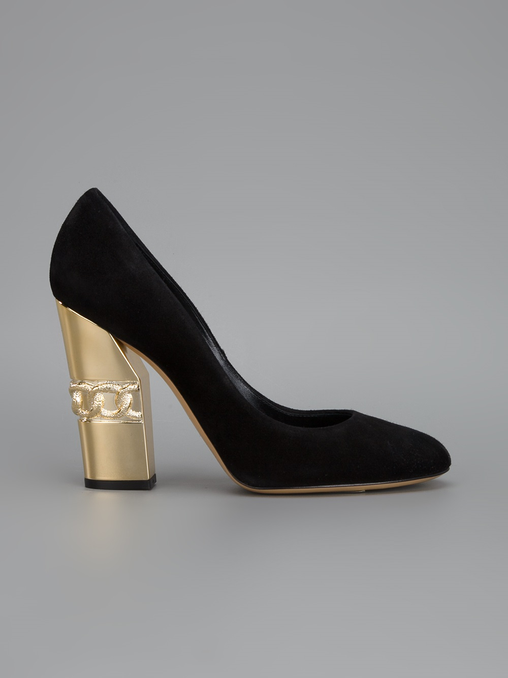 Lyst Casadei Chunky Heel Pump In Black