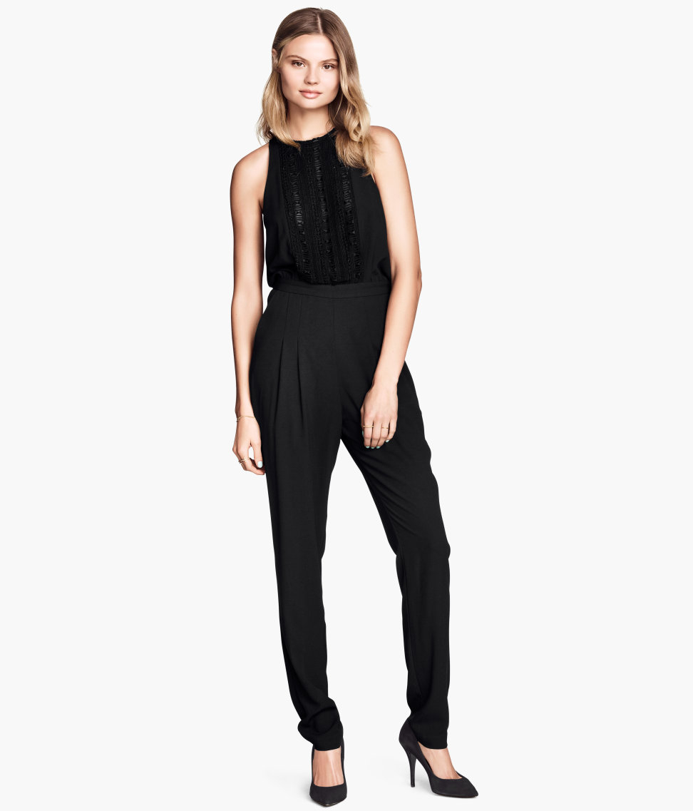 h m sleeveless jumpsuit in black lyst. Black Bedroom Furniture Sets. Home Design Ideas