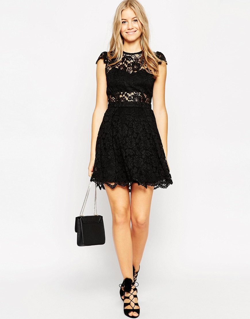 Lyst - Asos Petite Lace Mini Prom Dress With Bra Top in Black