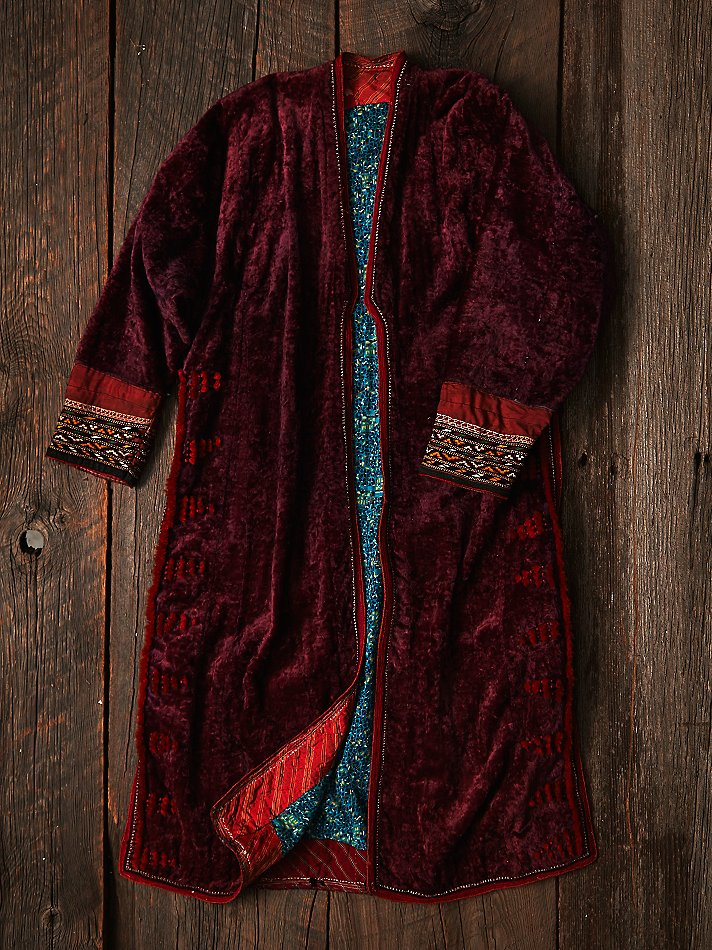 Free People Womens Vintage Embroidered Velvet Jacket In