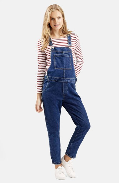 Topshop Denim Maternity Overalls In Blue Lyst