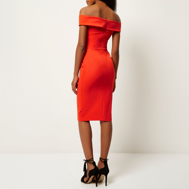 River Island Red Bardot Bodycon Midi Dress In Red Lyst