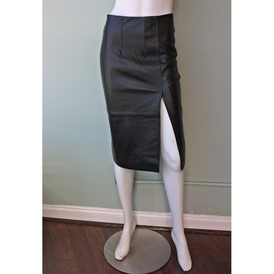 ganni moss leather skirt in black lyst
