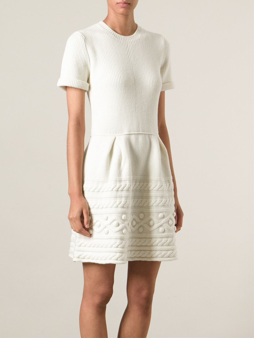 Red valentino Patterned Knit Dress in White | Lyst