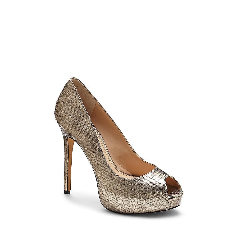 Silver Platform Peep Toe Heels