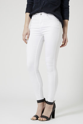 Topshop Moto White Leigh Jeans in White | Lyst