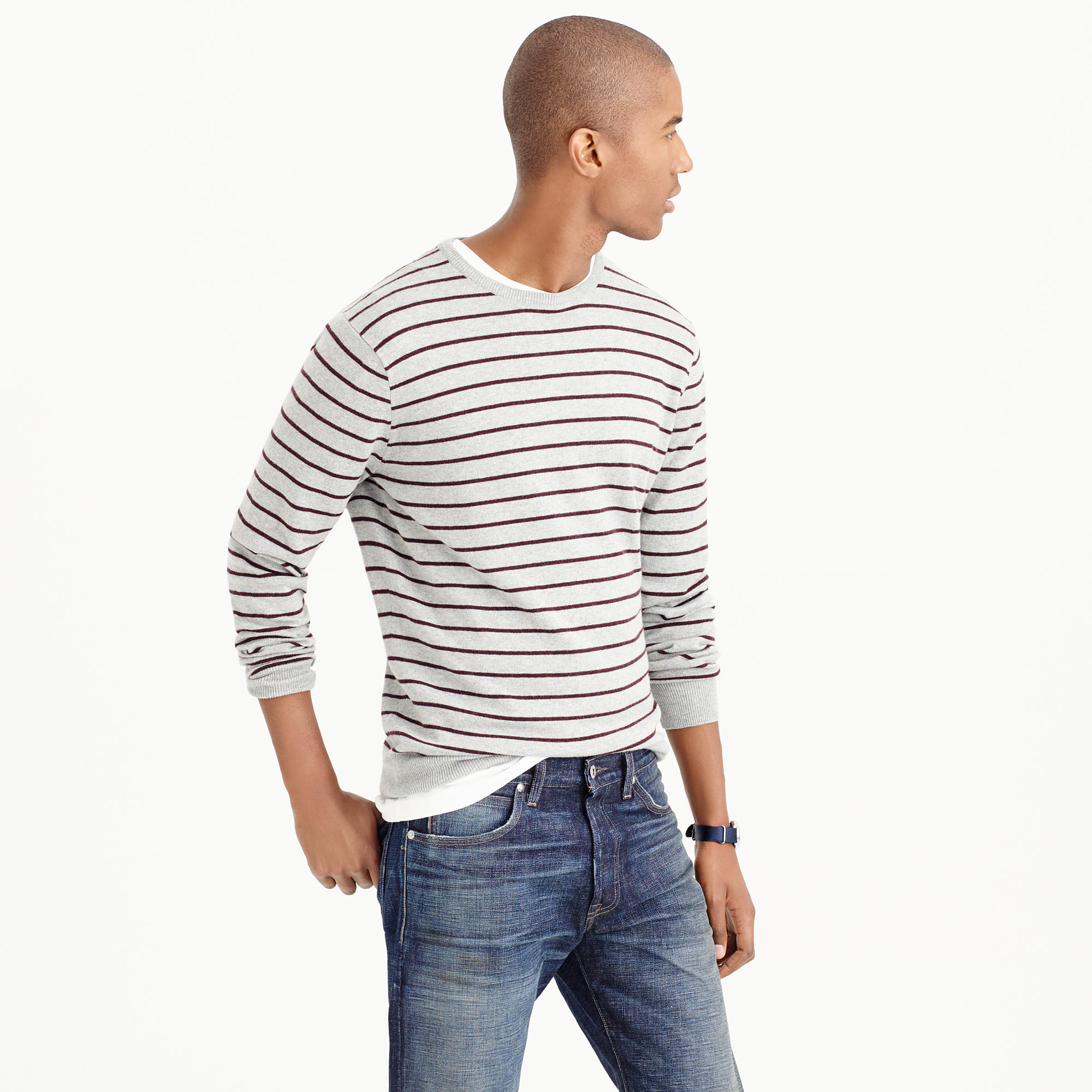 J.crew Cotton-cashmere Sweater In Heather Fine Stripe in Natural ...