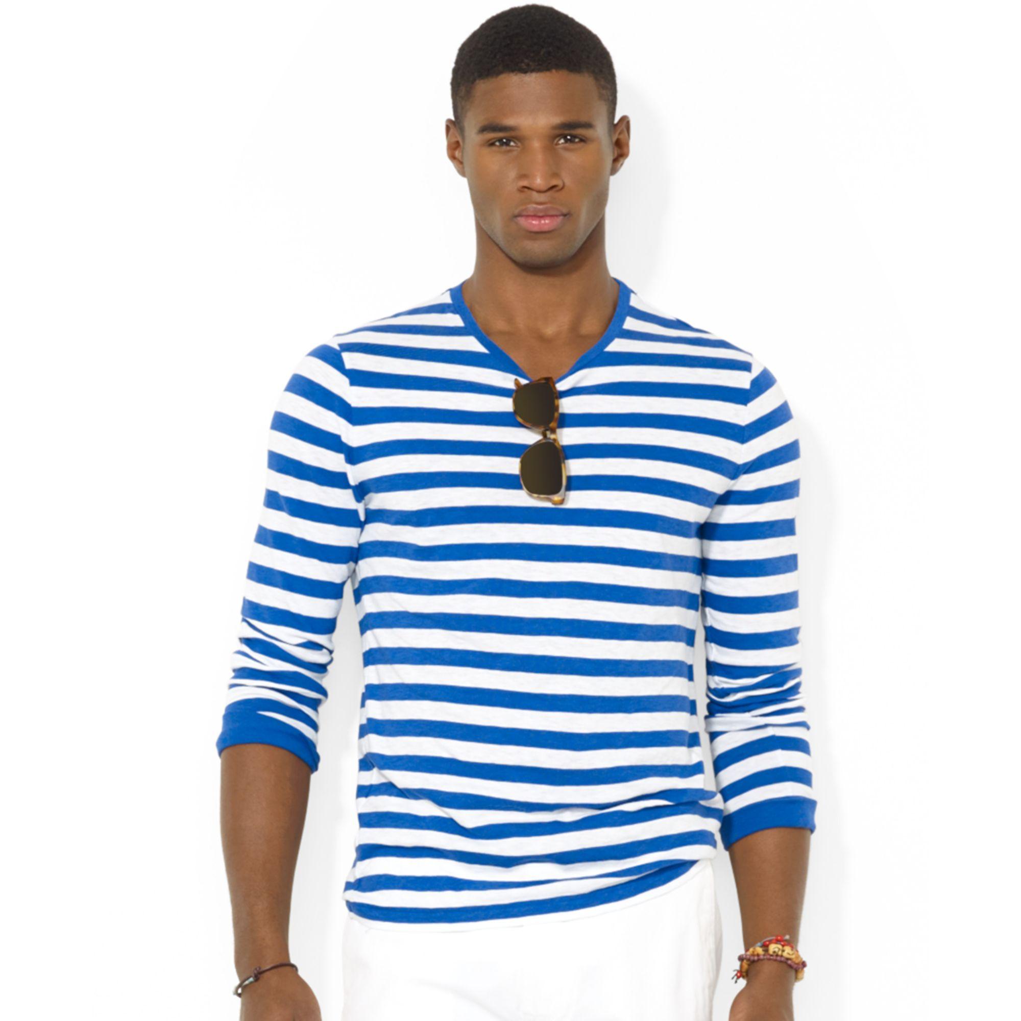 Ralph lauren polo longsleeved striped jersey tshirt in for Ralph lauren polo jersey shirt