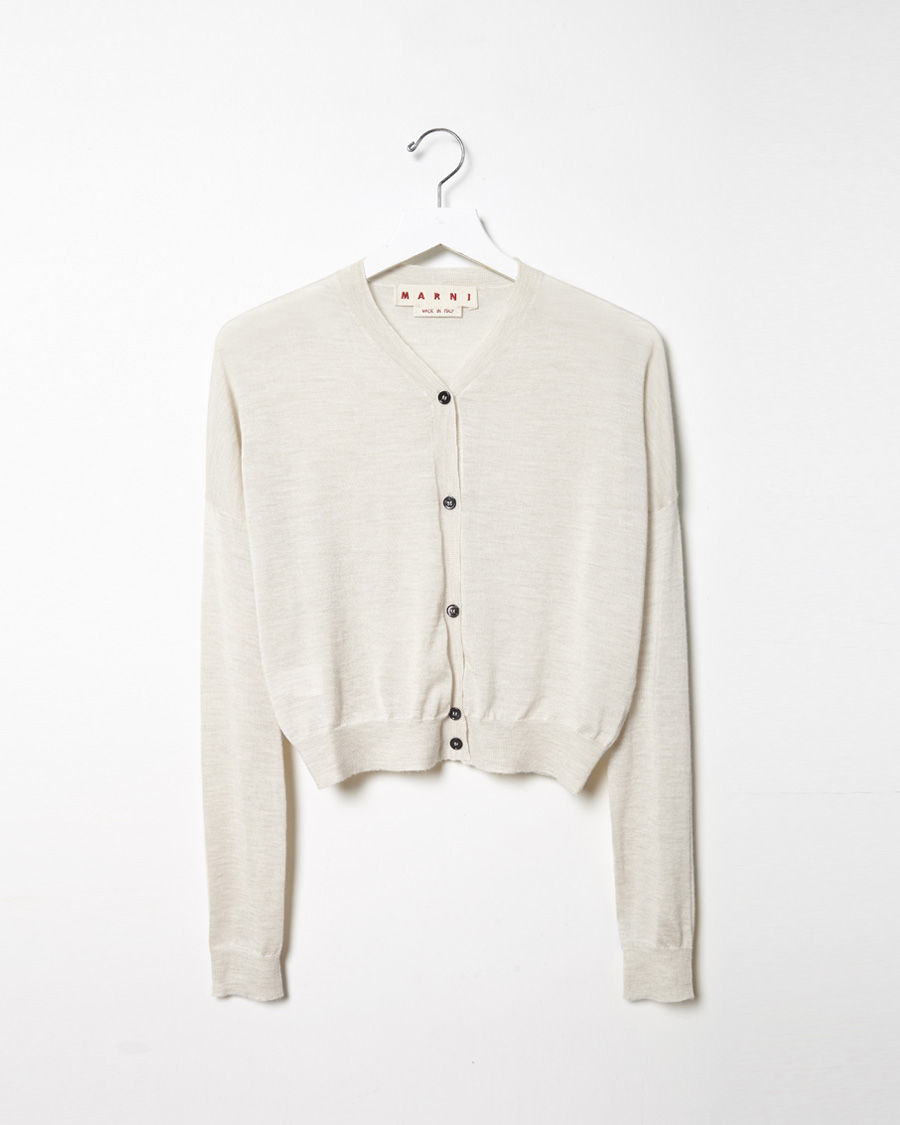 Marni Cropped Cashmere Cardigan in Natural | Lyst