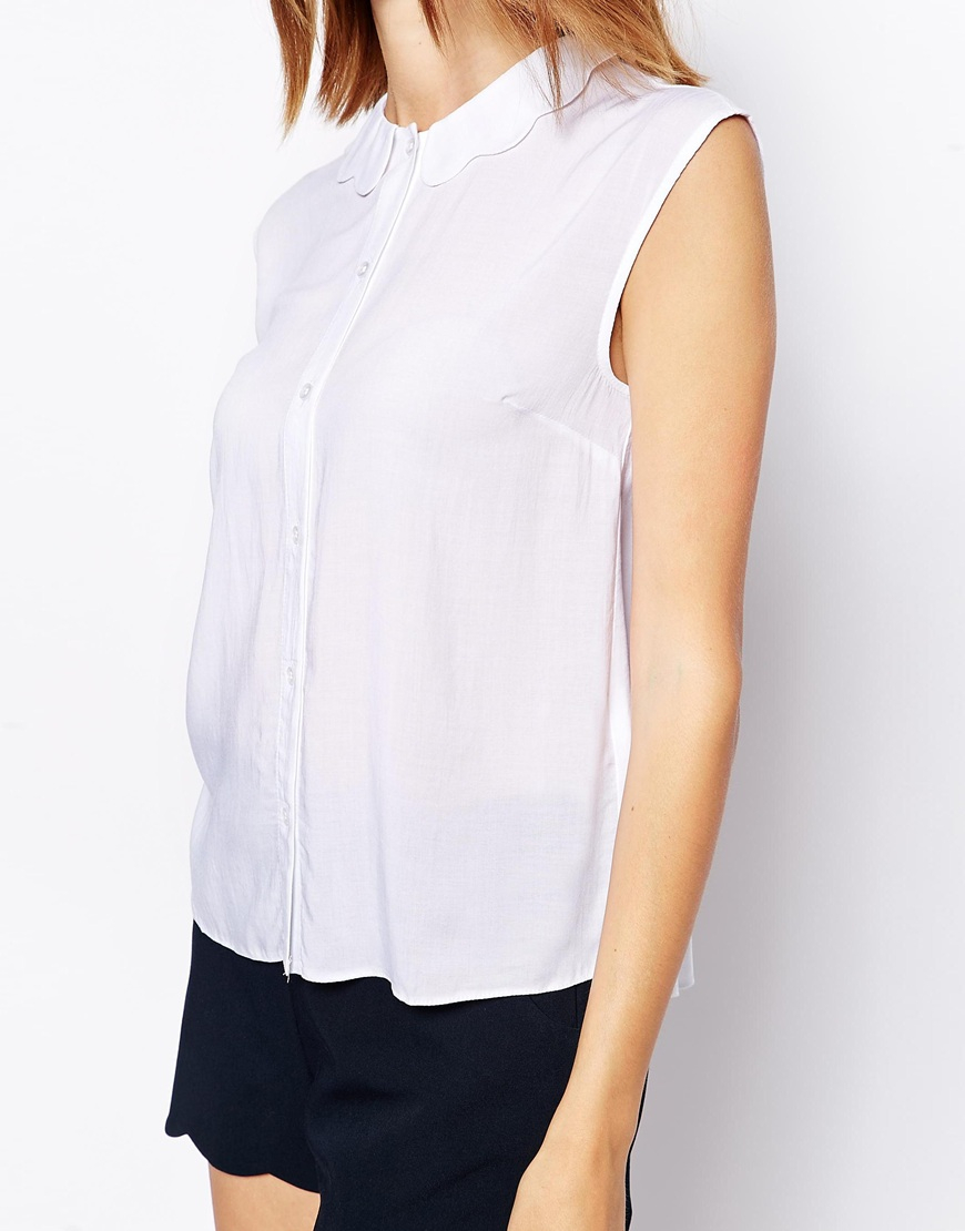 9e71ec9cd60cb Lyst - ASOS Blouse With Scallop Collar in White