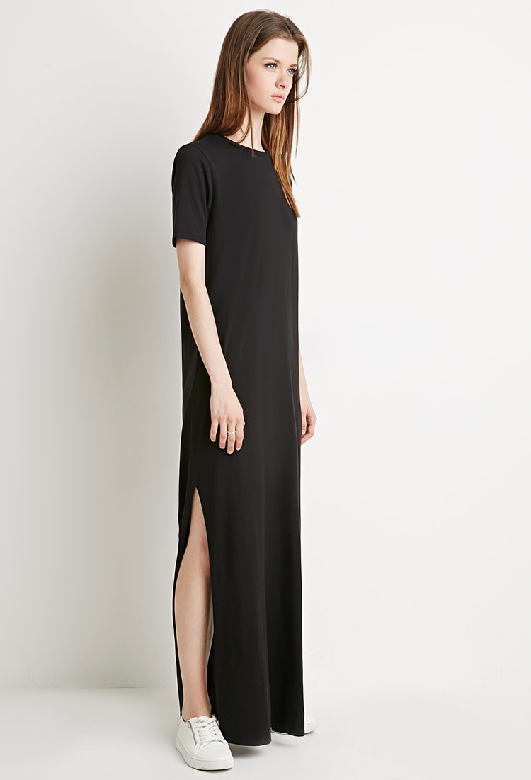 c4f88dfb3924 Forever 21 Side-slit T-shirt Maxi Dress in Black - Lyst