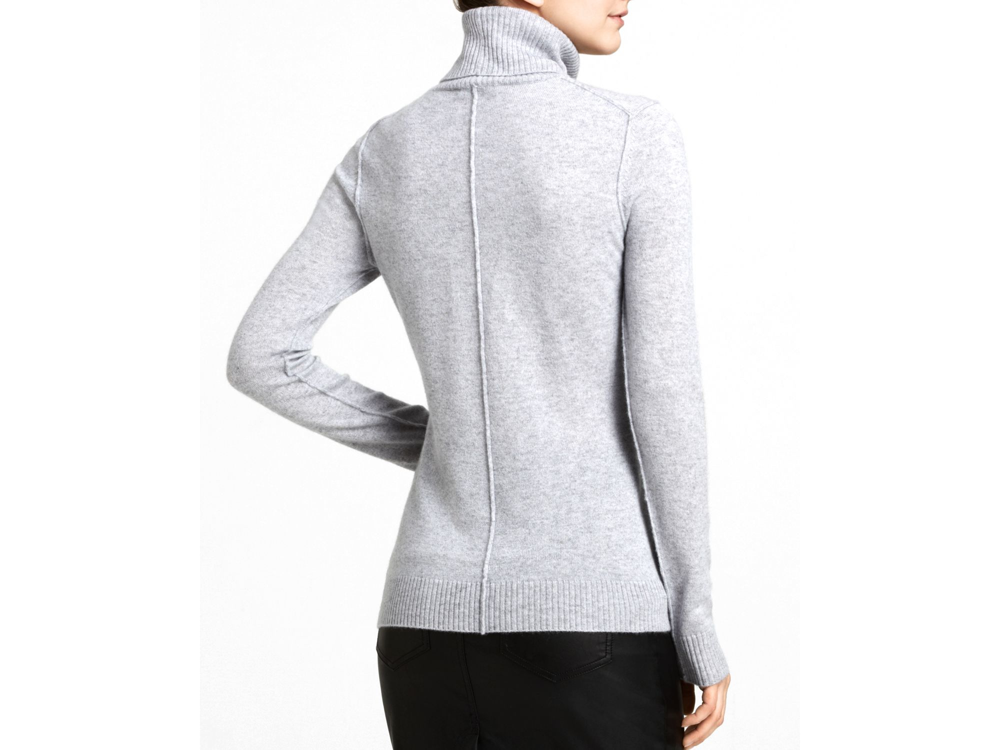 Aqua Cashmere Turtleneck Sweater in Gray | Lyst