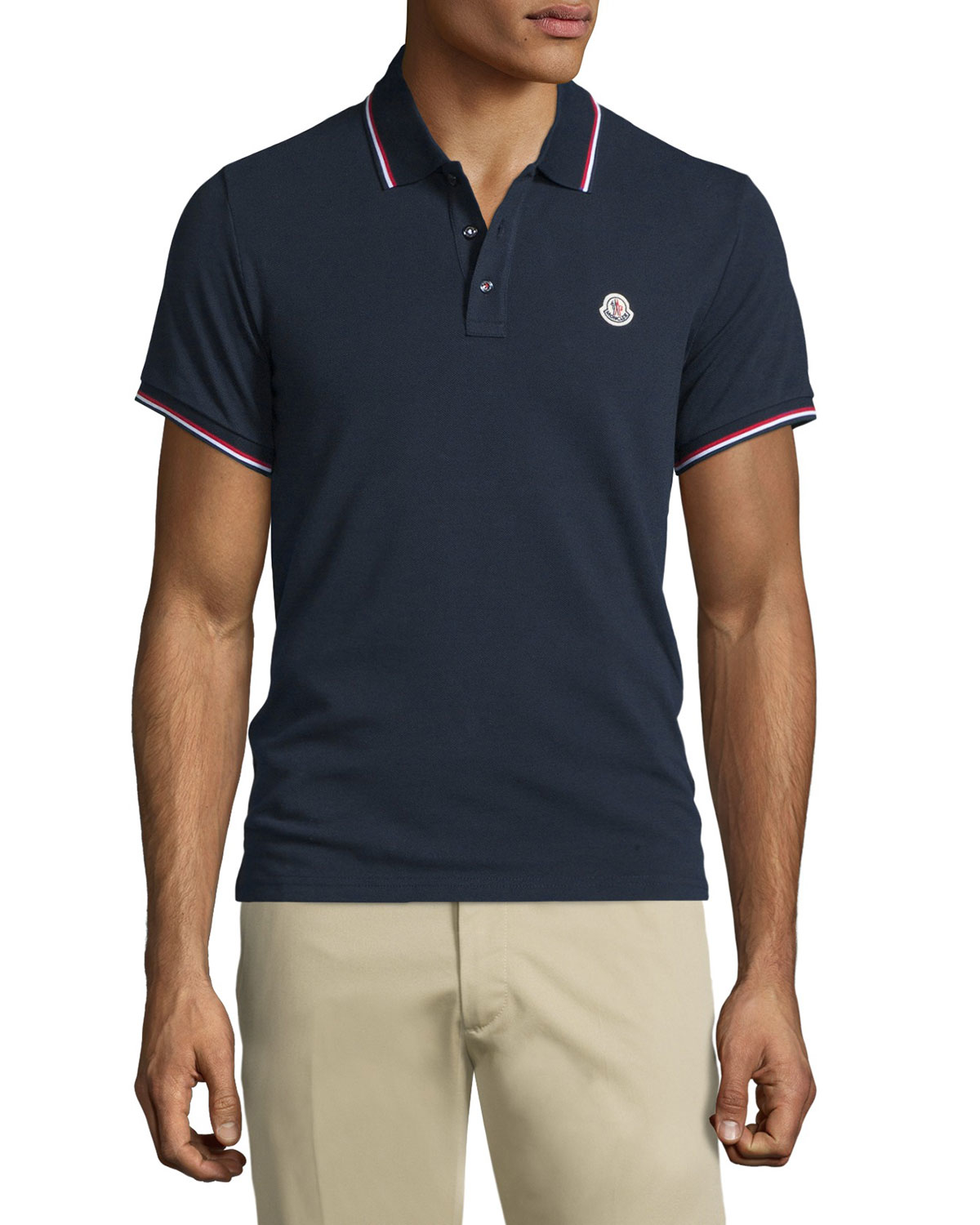 moncler navy tipped short sleeve pique polo shirt in blue for men lyst. Black Bedroom Furniture Sets. Home Design Ideas