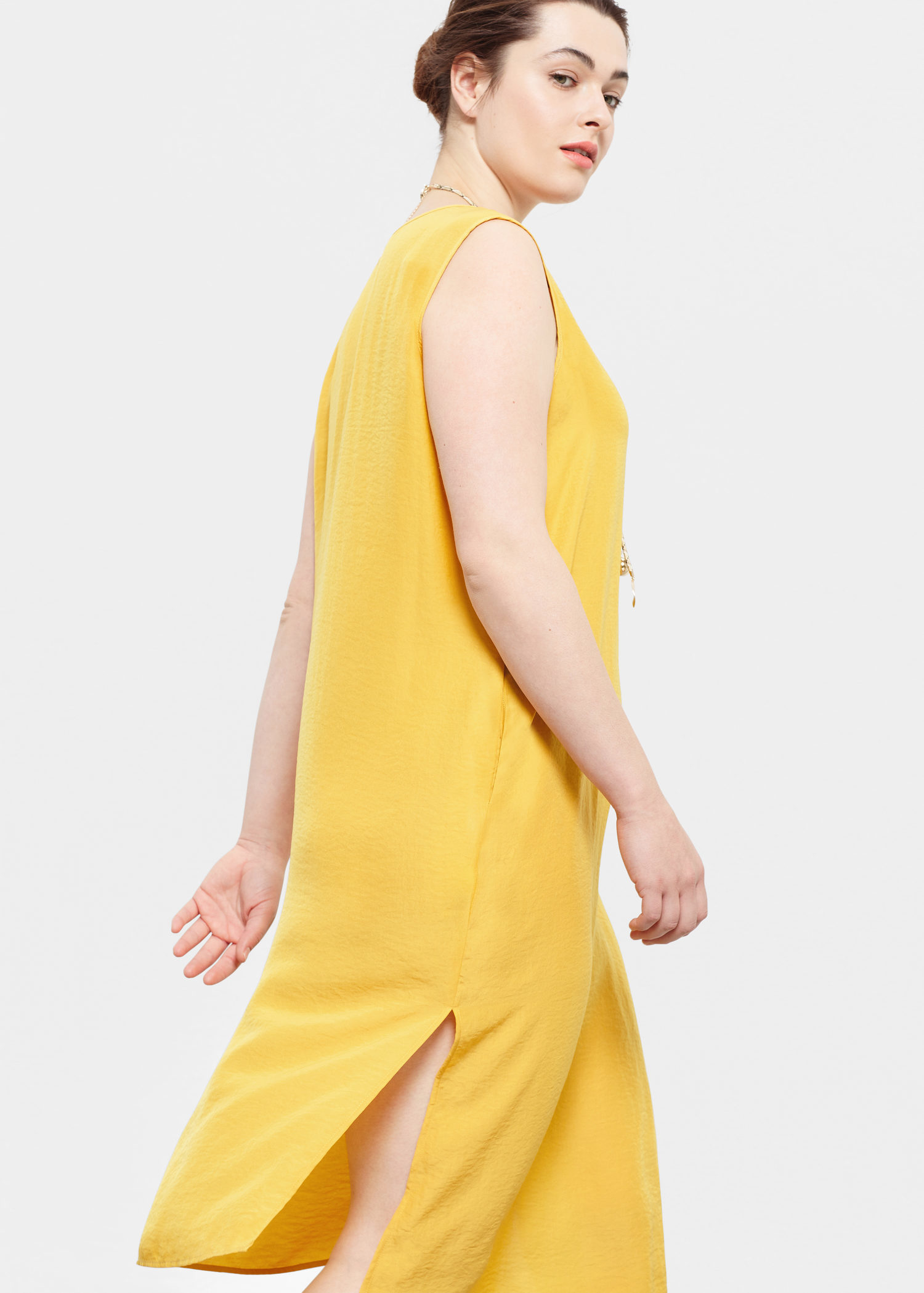 yellow dress flowy lyst violeta by mango flowy dress in yellow 8815