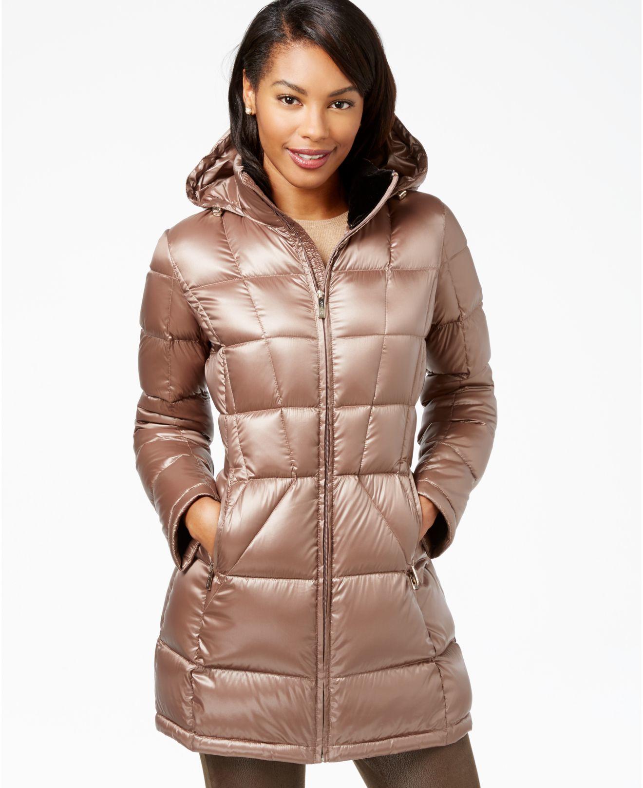 Lyst - Calvin Klein Hooded Down Packable Puffer Coat in Brown 76f6cc1ea6
