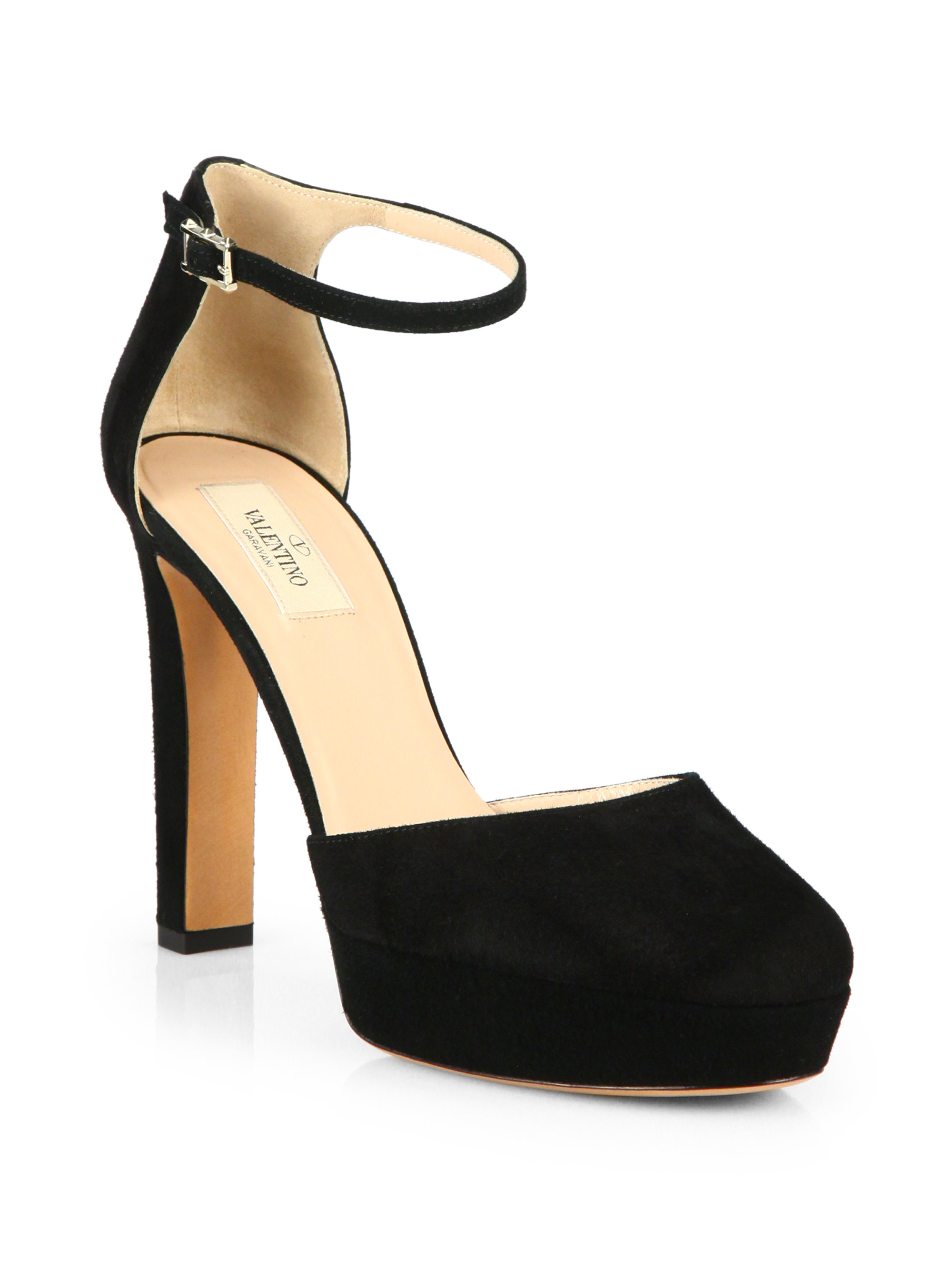 Valentino Suede Ankle-Strap Pumps in Black | Lyst