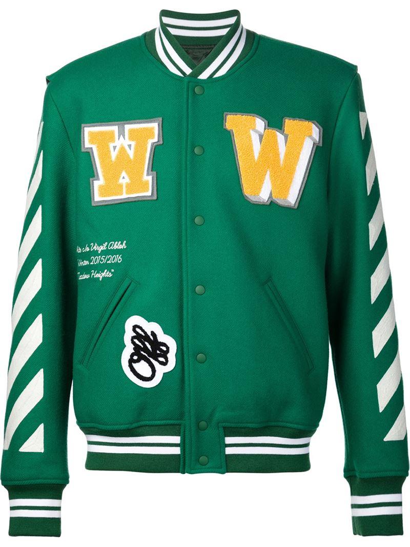 Off White C O Virgil Abloh Wool Striped Varsity Jacket In