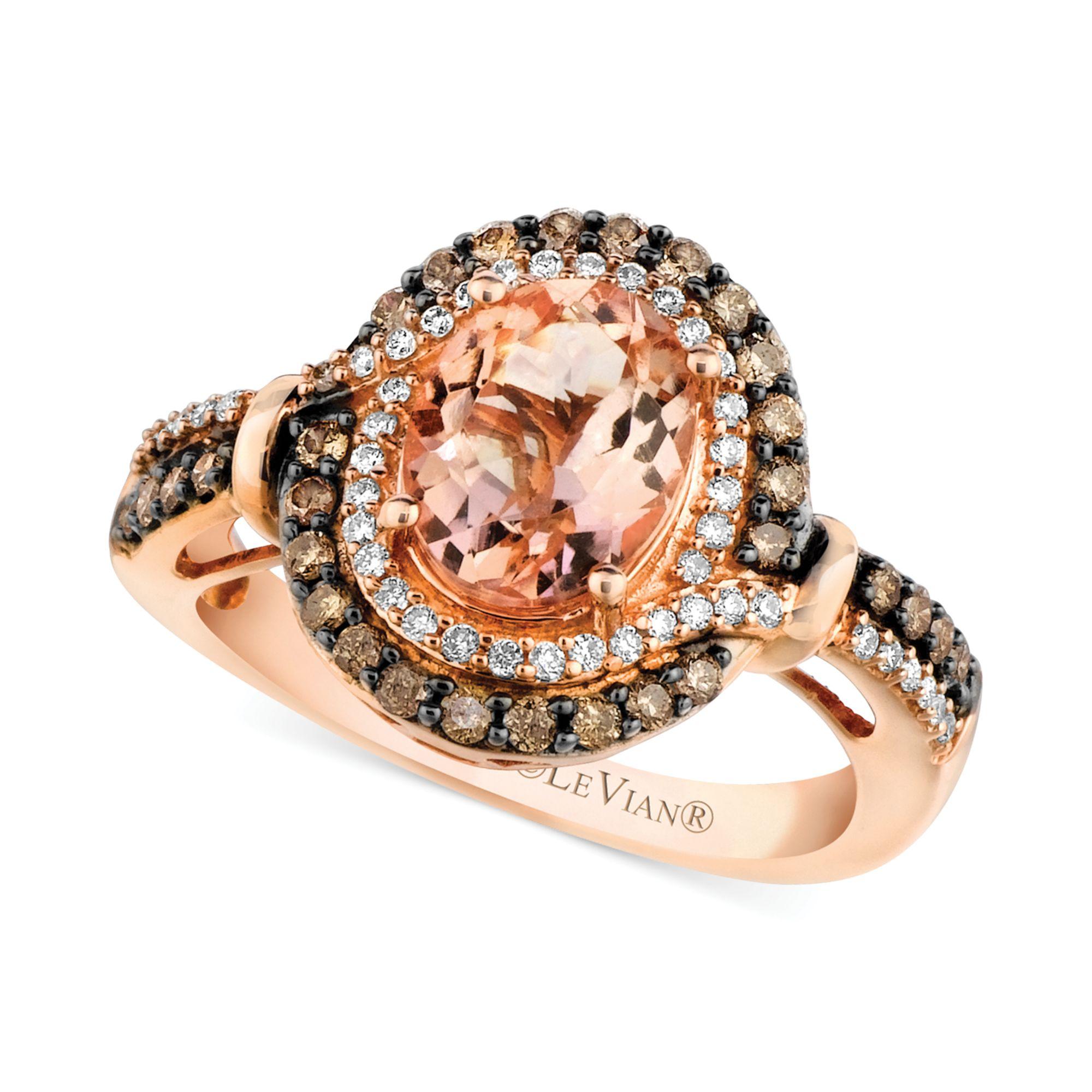 Le vian Morganite 1 3 8 Ct T w And Diamond 1 2 Ct T w Ring