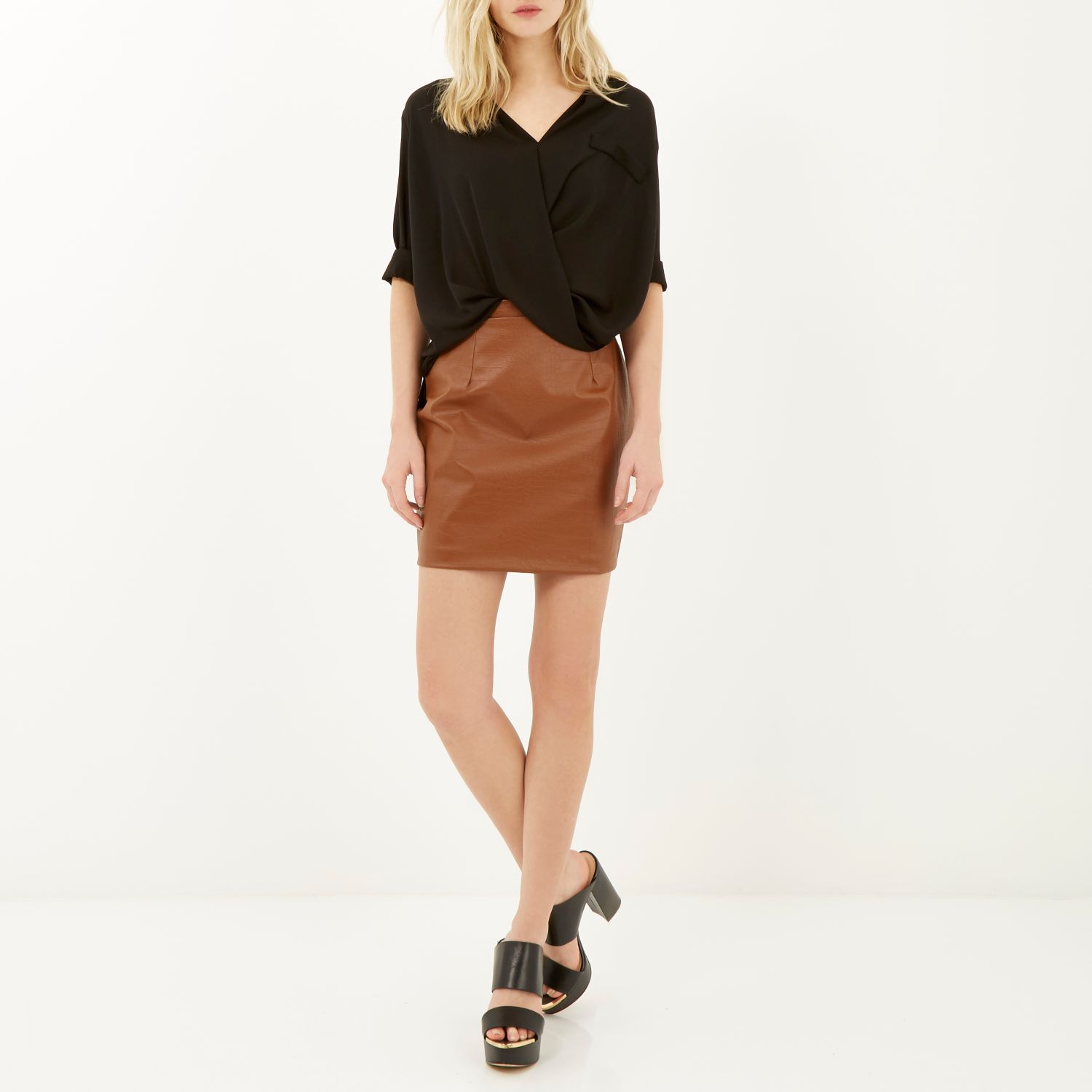 river island brown leather look mock croc a line skirt in