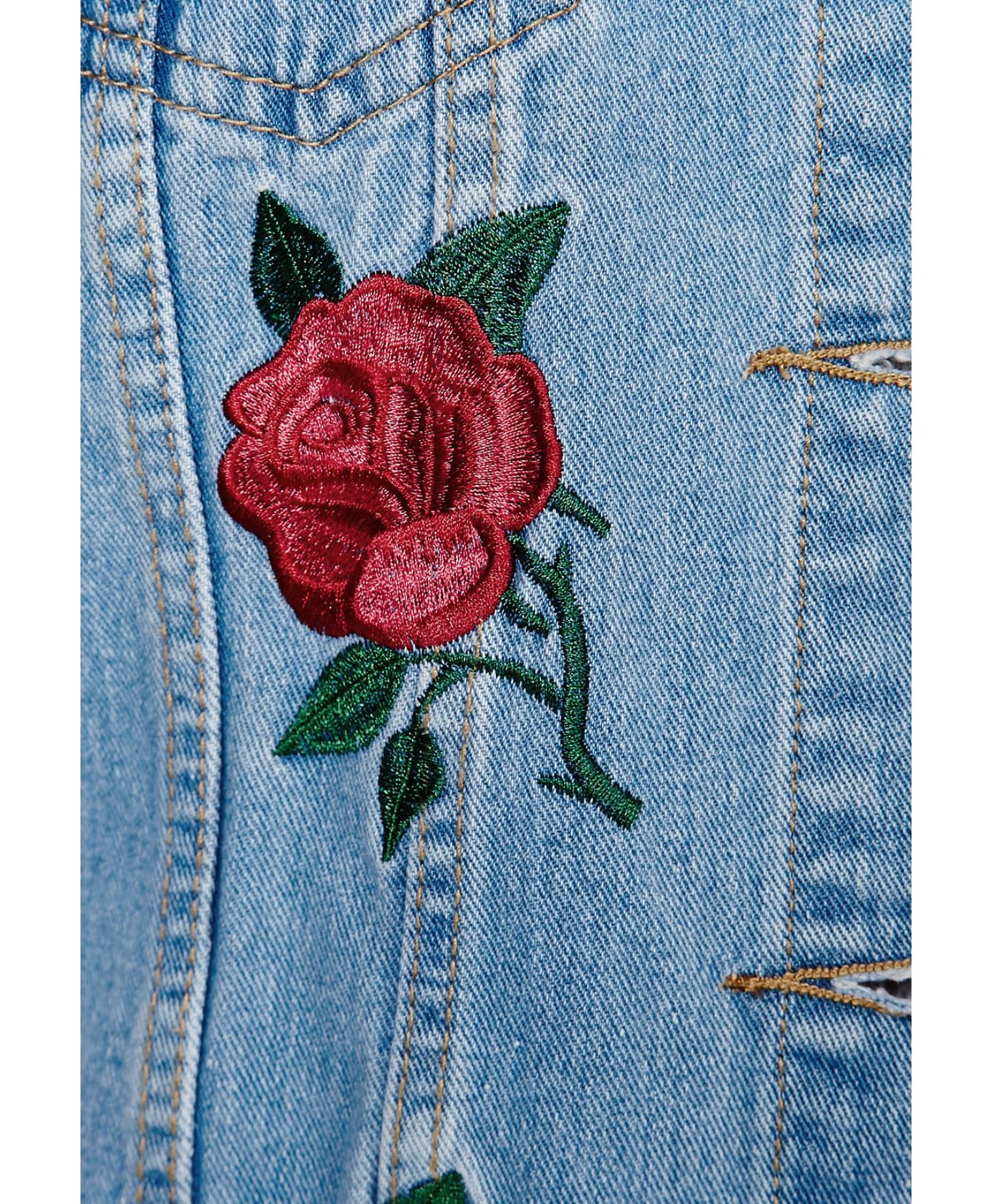 Lyst Missguided Caresa Rose Embroidered Denim Jacket In Blue