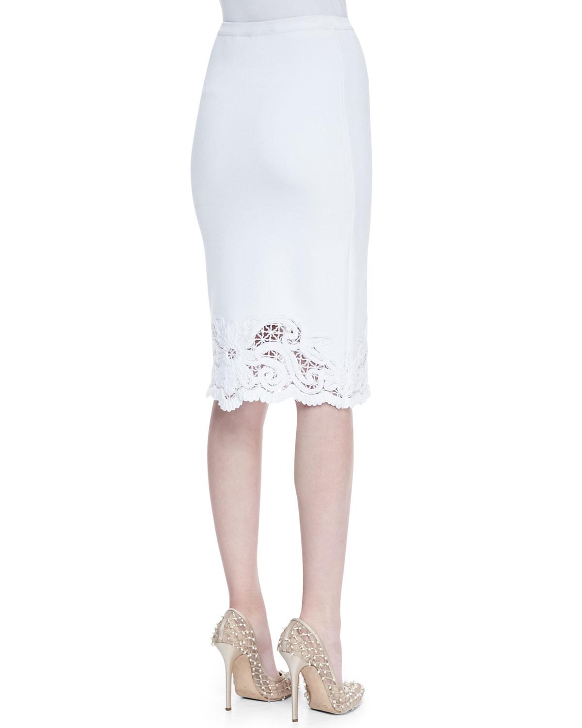 Oscar de la renta Crochet Trim Cotton Knit Skirt White in White | Lyst