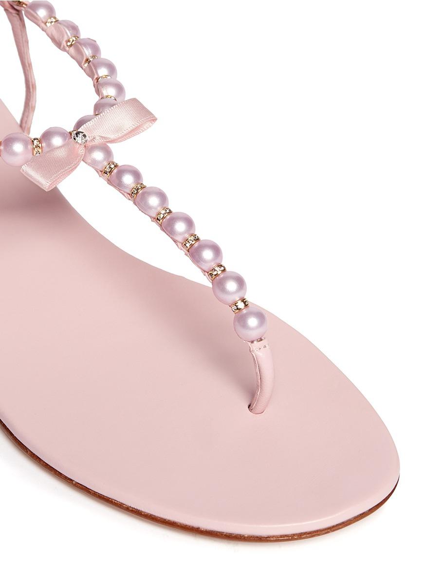 Pink Embellished Flat Shoes