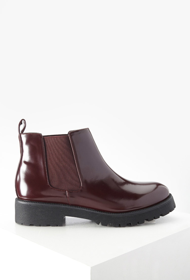 forever 21 faux patent leather boots in burgundy lyst