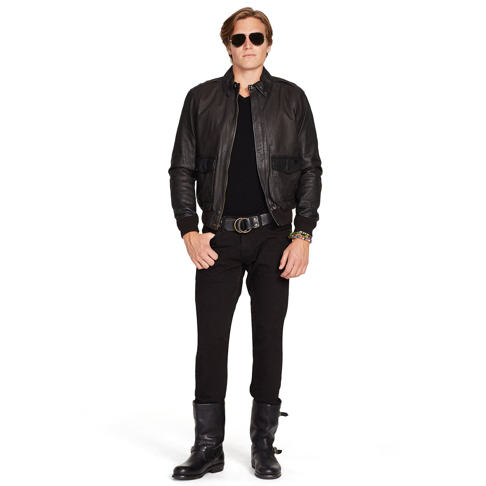 e81896a32 Polo Ralph Lauren Black Leather Farrington A2 Jacket for men
