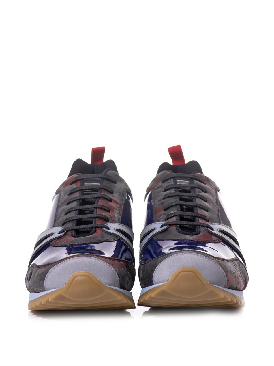 Balenciaga The Runner Patent-Leather Trainers in Blue for Men