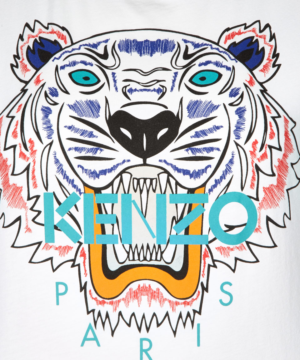 Kenzo White Cotton Tiger Tshirt In White For Men Lyst