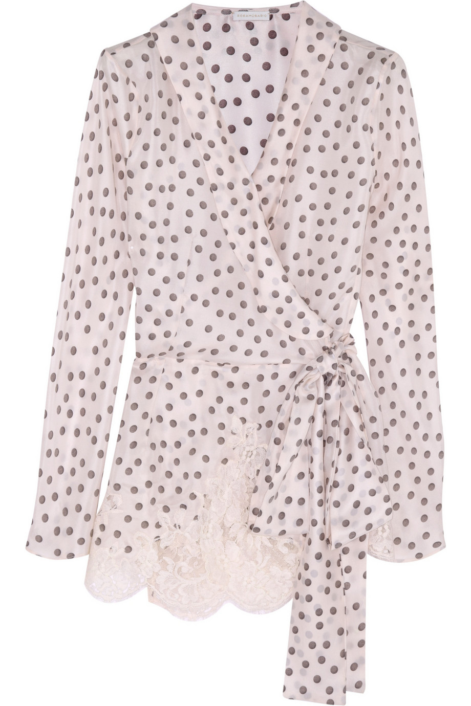 Rosamosario Dots And Lots Lace-Trimmed Polka-Dot Silk Pajama Top ...