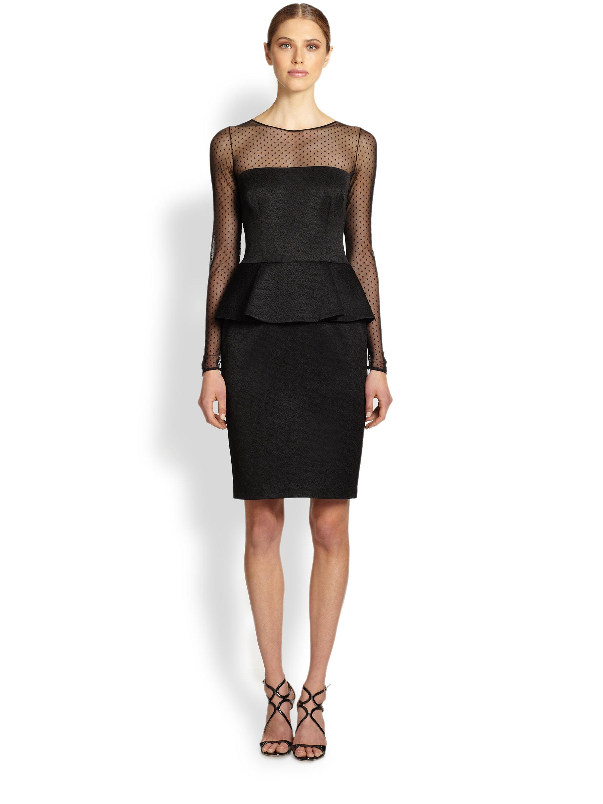 David Meister Long Sleeve Illusion Peplum Dress In Black
